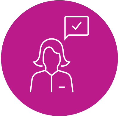 advocate icon - women with word bubble with checkbox