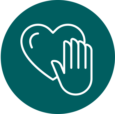 Gifts in tribute icon - hand over heart