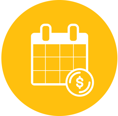 Monthly giving icon - calendar with coin over