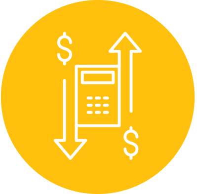 Planned giving icon - calculator with arrows and money signs